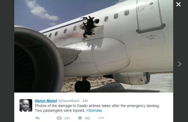 В Сомали самолет A321 приземлился после взрыва на борту