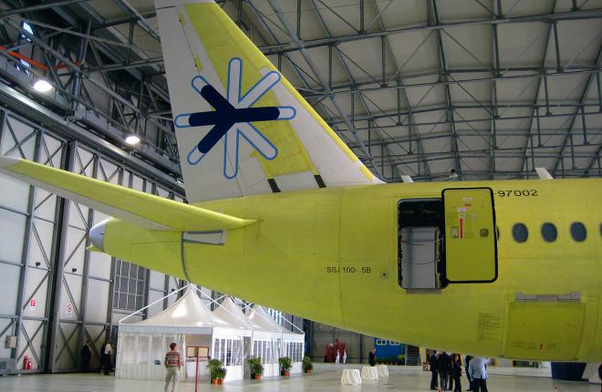 The first SSJ 100 with the Interjet logo at the SJI hangar in Venice
