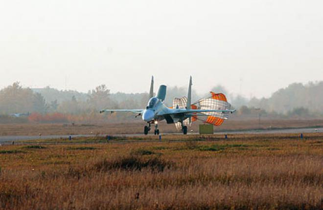 The first Su-30SM prototype landing after its maiden flight