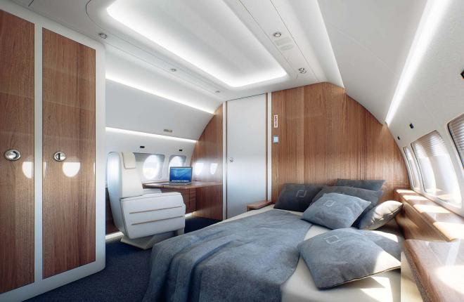 The SBJ's wide cabin allows for a variety of layouts.