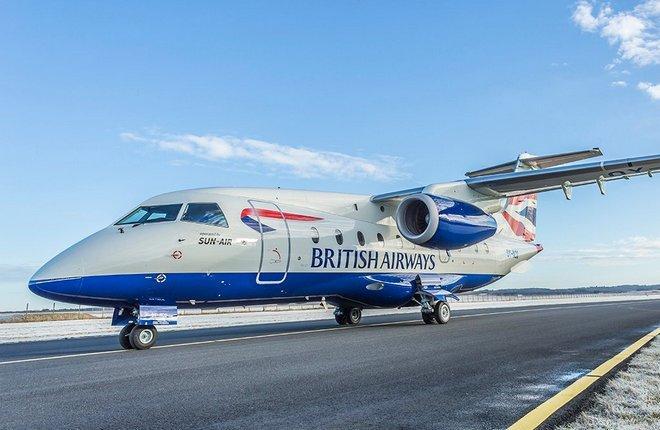 Sun-Air работала как франшиза British Airways, эксплуатируя региональные самолеты Dornier 328