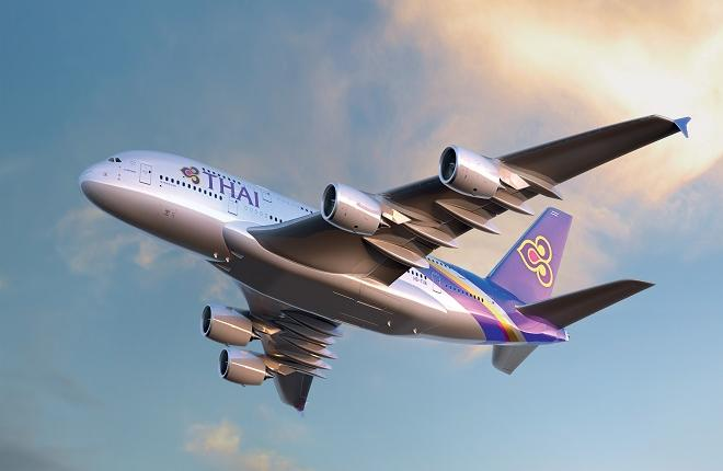 Самолет A380 авиакомпании Thai Airways