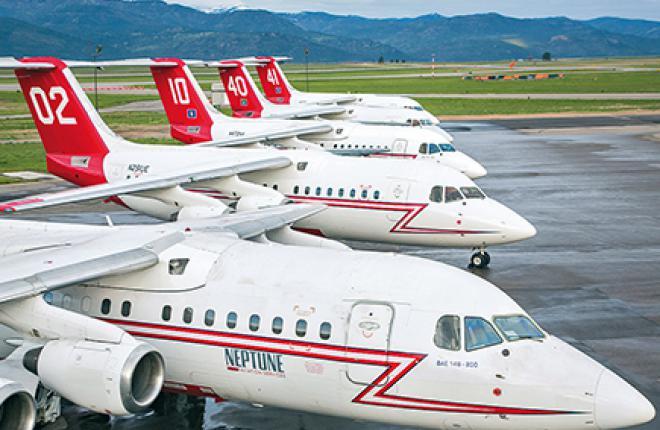 Все противопожарные самолеты BAe 146-200 компании Neptune Aviation Services в Миссуле (шт. Монтана) были прежде задействованы на региональных перевозках
