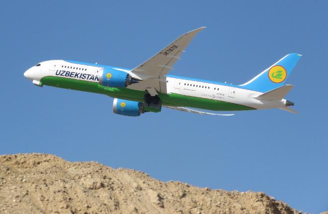 Самолет Boeing 787 авиакомпании Uzbekistan Airways