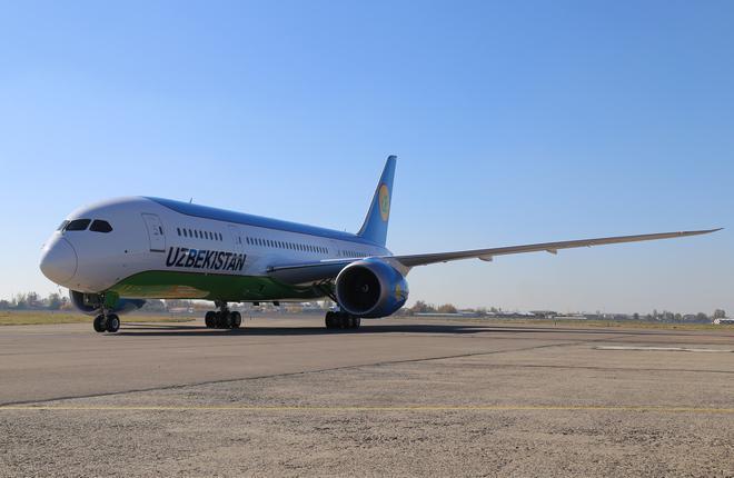 Самолет Boeing 787-8 авиакомпании Uzbekistan Airways