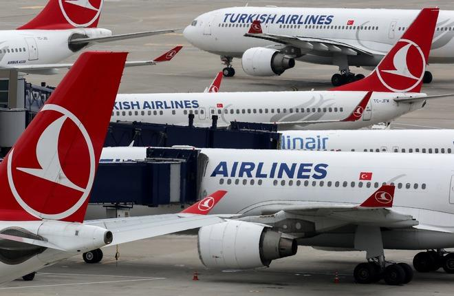 Самолеты Turkish Airlines во Внуково