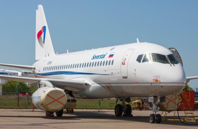 """SSJ 100 в ливрее авиакомпании """"Северсталь"""""""