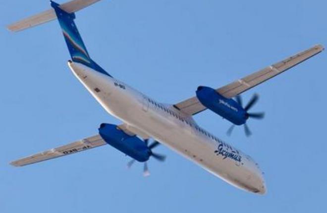 """Авиакомпания """"Якутия"""" полетела в Мирный на самолете Bombardier Dash 8"""