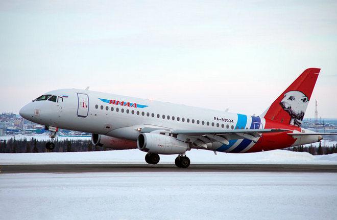 "Самолет SSJ 100 авиакомпании ""Ямал"""
